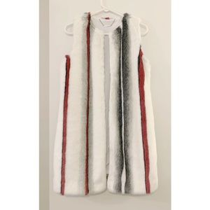Elie Tahari White Multi Faux Fur Jill Vest